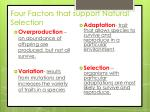 four factors that support natural selection