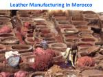 leather manufacturing in morocco