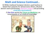 math and science continued
