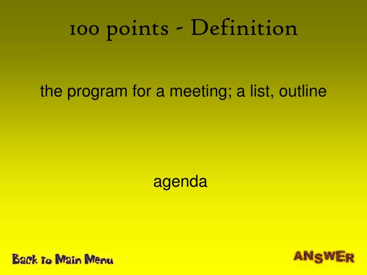 100 points definition