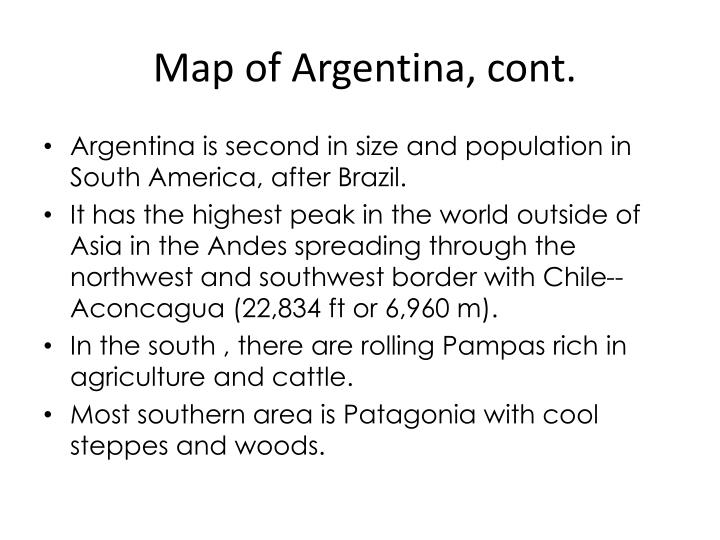 Map of Argentina, cont.