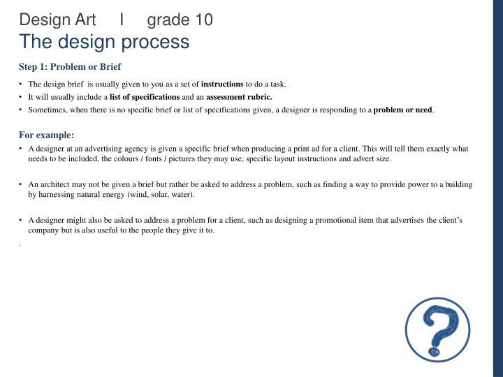 Design art i grade 10 the design process2