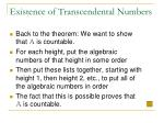 existence of transcendental numbers23