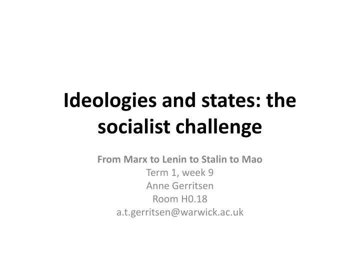 ideologies and states the socialist challenge n.