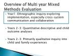 overview of multi year mixed methods evaluation