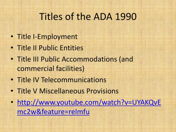 Titles of the ADA 1990