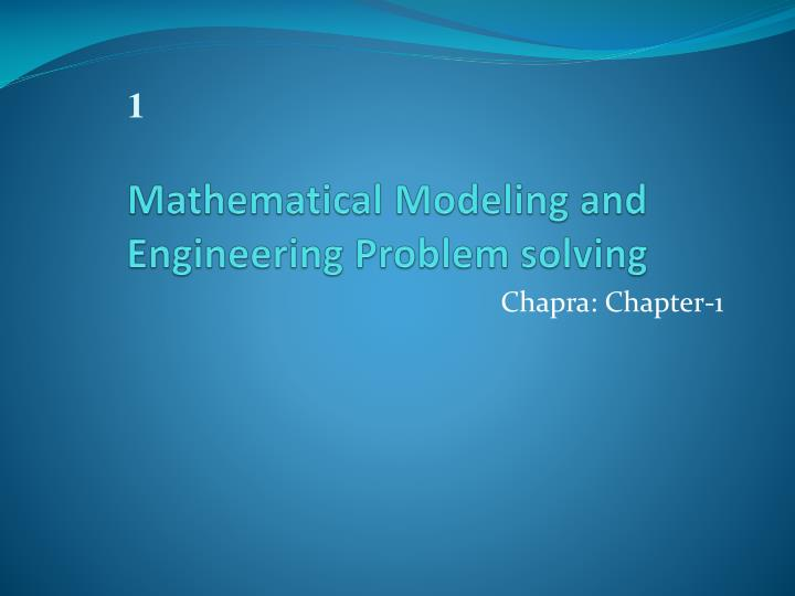 mathematical modeling and engineering problem solving n.
