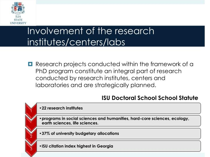 Involvement of the research institutes/centers/labs
