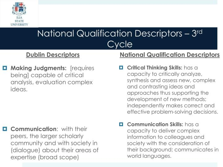 National Qualification Descriptors – 3