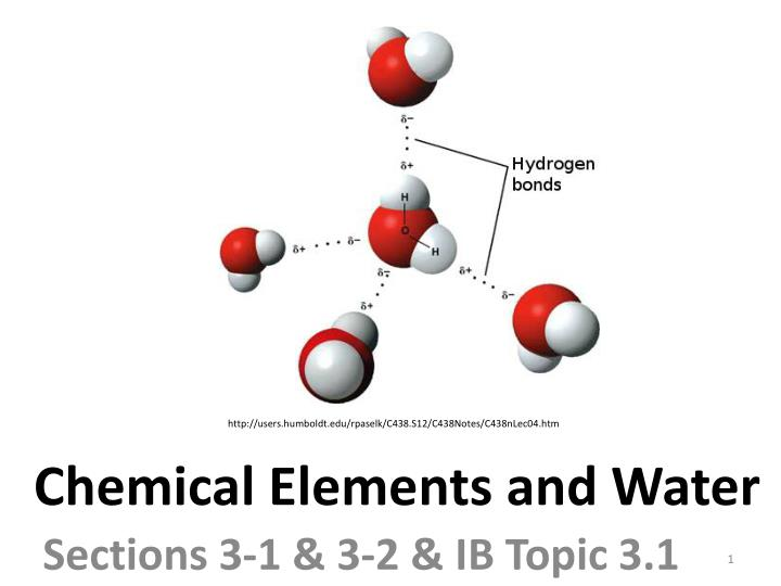 chemical elements and water n.