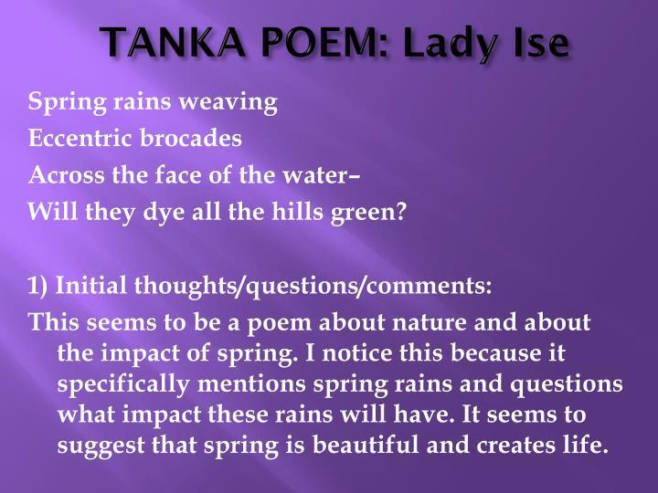 Tanka poem lady ise