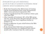intramuscular and periosteal acupuncture in patients suffering from chronic musculoskeletal pain