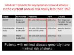 medical treatment for asymptomatic carotid stenosis is the current annual risk really less than 11