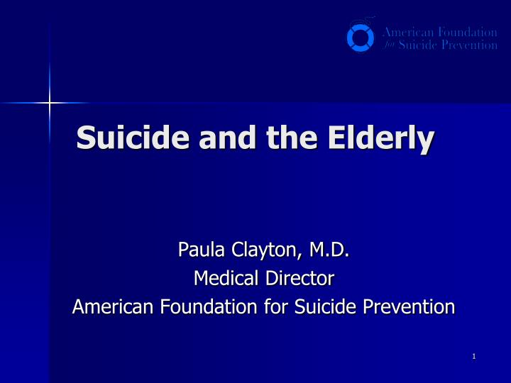 suicide and the elderly n.