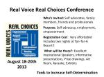 real voice real choices conference