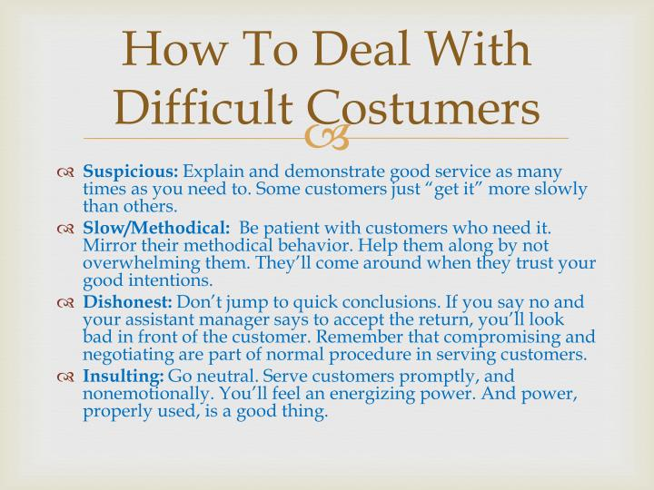 How To Deal With Difficult Costumers