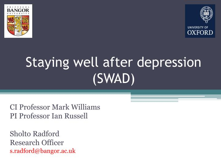 staying well after depression swad n.