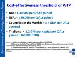 cost effectiveness threshold or wtp