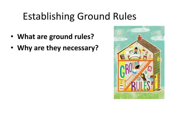 establishing the ground rules essay Free essay:  explain how to establish and maintain a safe and supportive learning environment  232  explain how to establish ground rules with learners to .