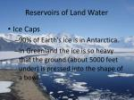 reservoirs of land water
