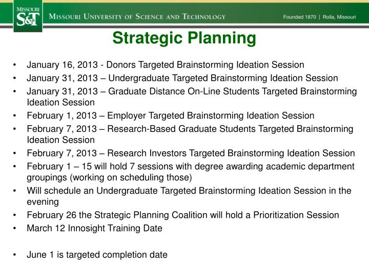 strategic planning n.
