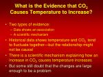 what is the evidence that co 2 causes temperature to increase