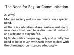 t he n eed for regular communication1