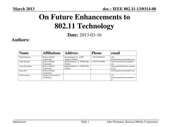 on future enhancements to 802 11 technology n.