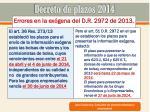 decreto de plazos 201420
