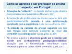 como se aprende a ser professor do ensino superior em portugal