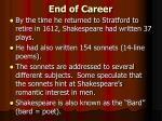 end of career