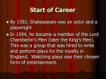 start of career