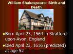 william shakespeare birth and death