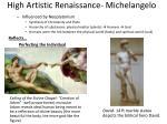 high artistic renaissance michelangelo
