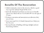 benefits of the renovation