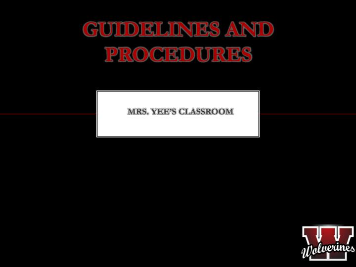 guidelines and procedures n.