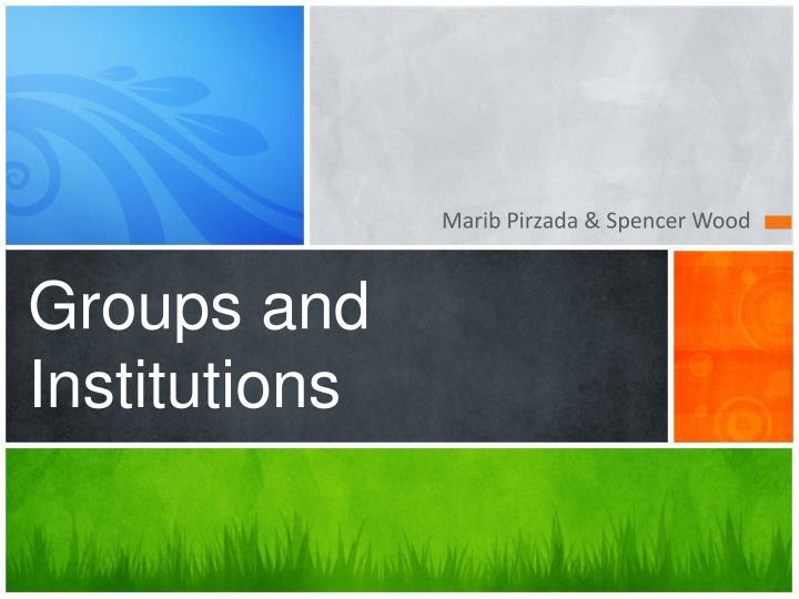 groups and institutions n.
