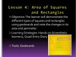 lesson 4 area of squares and rectangles