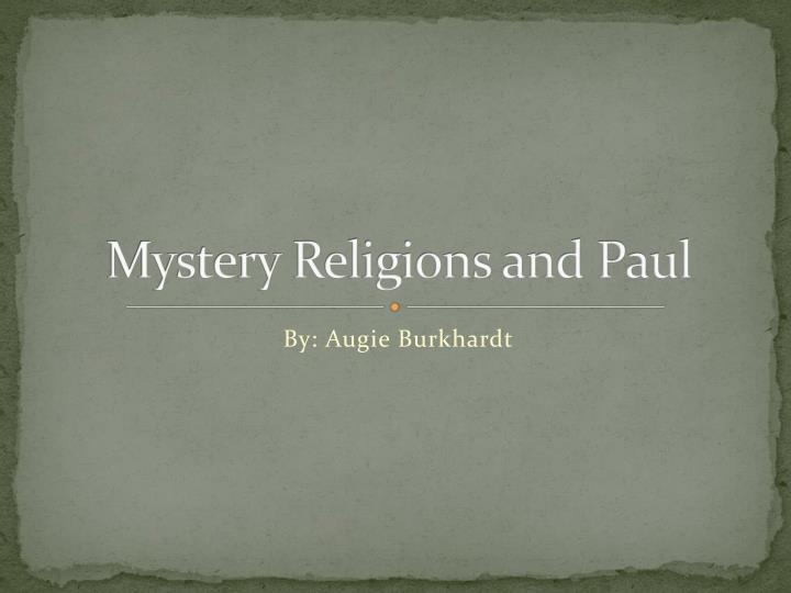 mystery religions and paul n.