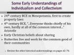 some early understandings of individualism and collectivism