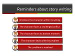 reminders about story writing