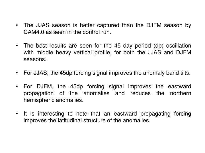 The JJAS season is better captured than the DJFM season by CAM4.0 as seen in the control run.