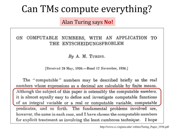 Can TMs compute everything?