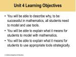unit 4 learning objectives