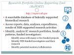 re search p ortfolio o nline r eporting t ool report http report nih gov