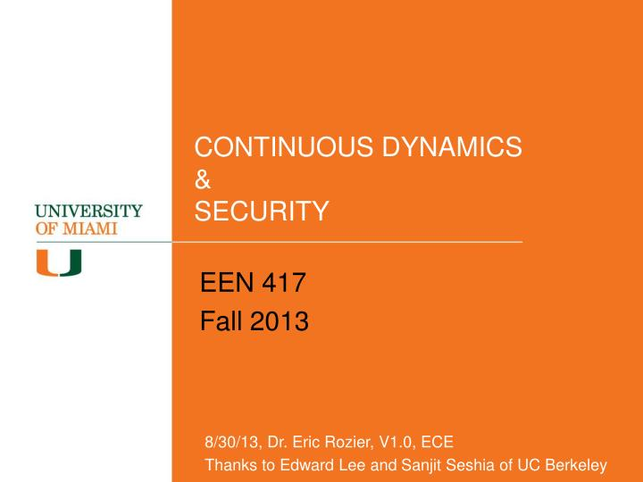 continuous dynamics security n.