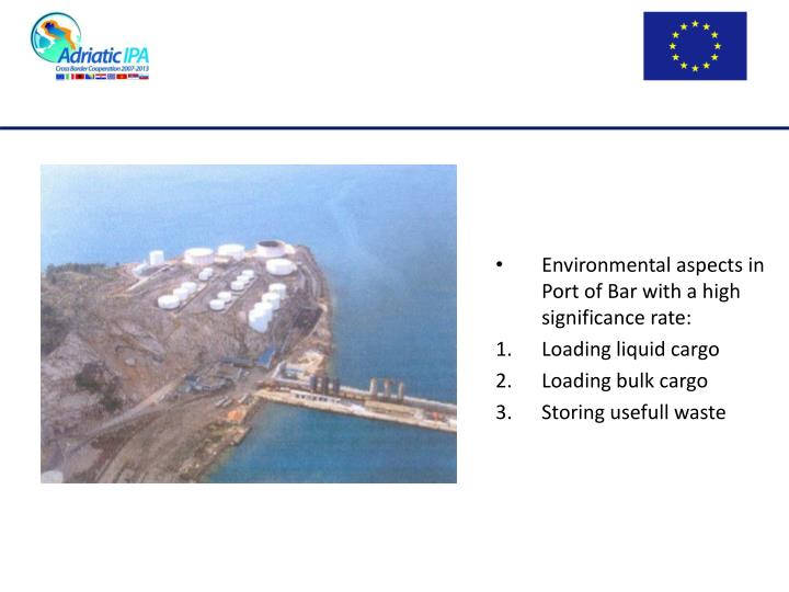 Environmental aspects in Port of Bar with a high significance rate: