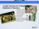 1 week courses for college students teachers