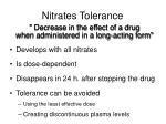 nitrates tolerance
