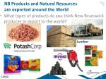 nb products and natural resources are exported around the world